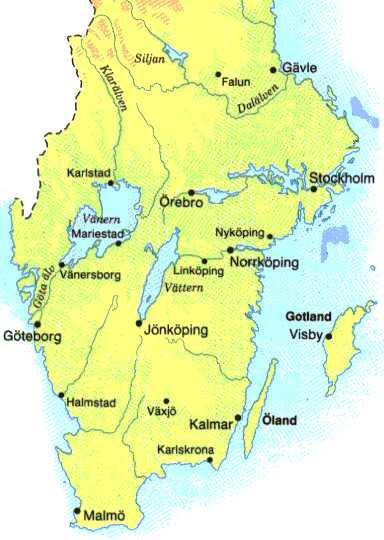Sodra Sverige Karta Karta Over Sodra Sverige Norra Europa